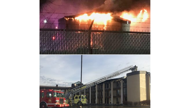 A fire at the Welcome Inn in Springfield caused 150 people to be evacuated, according to a fire department spokeswoman. Firefighters were still spraying water on the hotel the next morning.