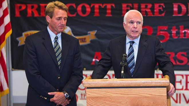 Yarnell Hill Fire-7-1-2013-Sen. Jeff Flake and Sen. John McCain hold a press conference at the Incident Command Post at Prescott High School, Friday, 7-5-2013.  Earlier they met with families of the fallen firefighters of the Granite Mountain Hot Shots. Photo by Tom Tingle/The Arizona Republic
