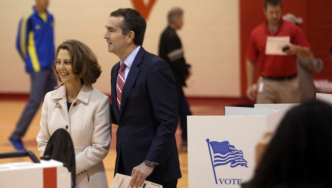 Democrat Ralph Northam, and his wife Pam on Election Day, Norfolk, Va., Nov. 7, 2017.