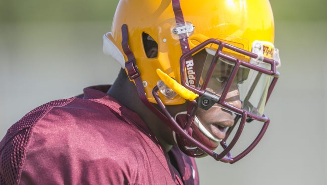 Kalen Ballage is out indefinitely because of a back injury. The freshman running back was one of the standouts of ASU's first week, a rare combination of size and speed.
