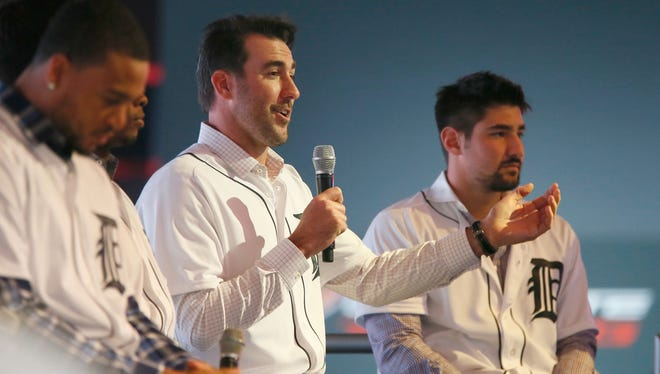 Detroit Tigers pitcher Justin Verlander, along with other players including Nick Castellanos, back right, answer questions from the fans at the North American International Auto Show stop on the winter caravan in 2015.