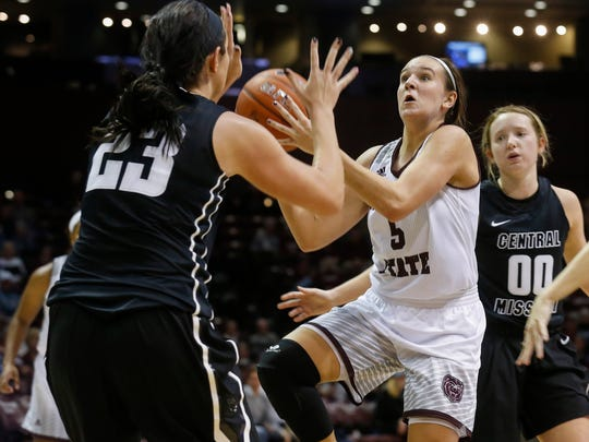 Liza Fruendt takes a shot during Missouri State University's home opener against Central Missouri at JQH Arena on Wednesday, Nov. 15, 2017.