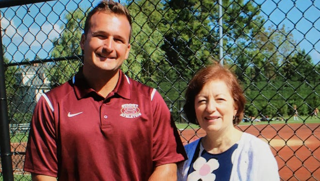 Dr. Patrick Scarpello (left), here with Summit athletic secretary Anna Morreale, will take over as Montclair's new assistant principal in charge of athletics.