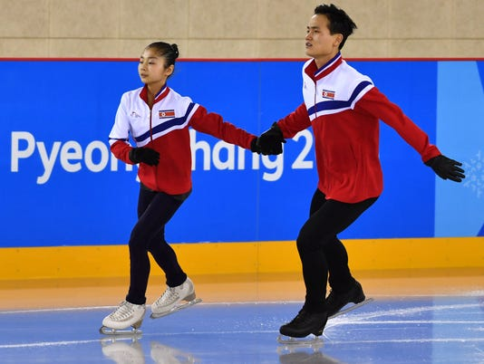 USP OLYMPICS: DPRK PAIRS FIGURE SKATERS PRACTICE S OLY KOR [E