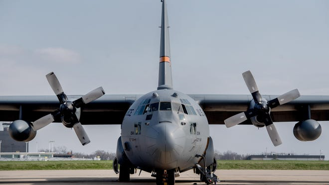 One of five C-130 cargo planes sits on the tarmac Tuesday, April 7, 2020 at the Illinois Air National Guard base in Peoria.