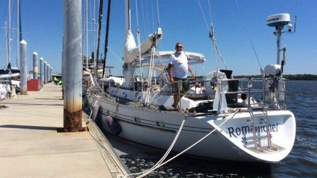 Maurice Gagne and his sailboat Romanichel docked at West Palm Beach. One person aboard the  boat went overboard on Thursday, April 30, 2020, off the Space Coast.