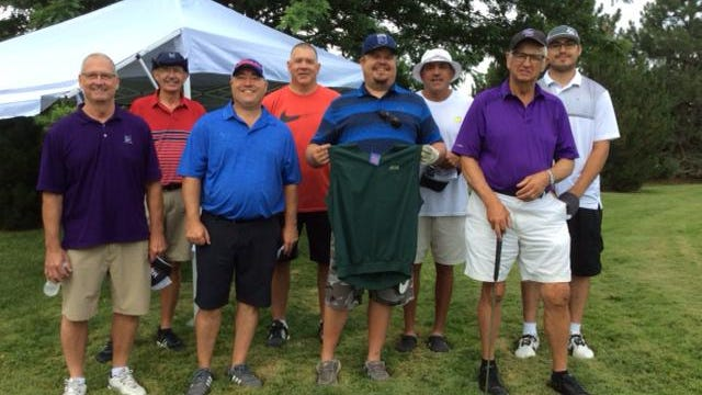Winners of the 15th annual Pine Edge Putting Contest, from left, Nelson Goertzen, Delbert Peters, Gavan Petersen, Chad Lindeman, CJ Conover, Anthony Jenkins, Chet Roberts and Dustin Johnson.