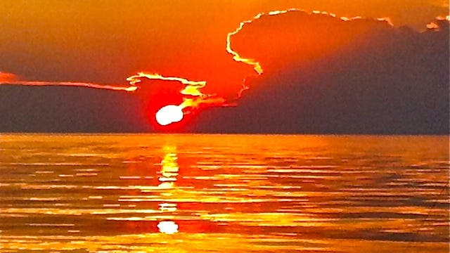 A sunrise over Lake Huron.