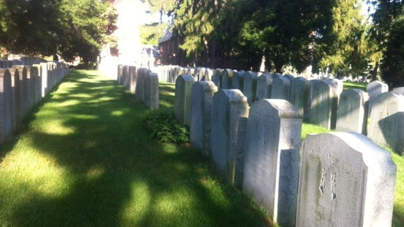The priests' section of Holy Sepulchre Cemetery on an early Monday morning.