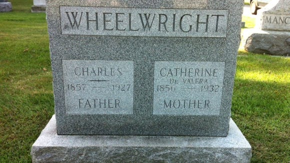 The gravestone for Catherine and Charles Wheelwright.
