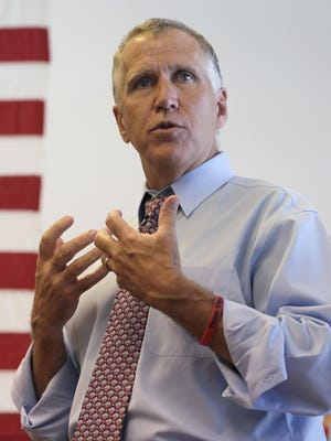 Thom Tillis, then state House speaker, speaks to supporters at a rally at the Buncombe County Republican headquarters in Asheville during his campaign for U.S. Senate last year.