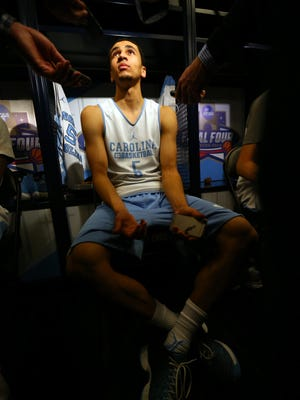 Marcus Paige of the North Carolina Tar Heels speaks with the media prior to the Final Four at NRG Stadium.