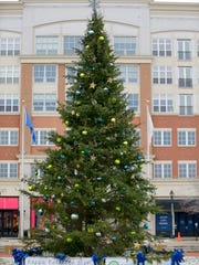 Bayshore Town Center lights up its 2017 Christmas tree on Saturday. (This is the center's tree in 2016.)