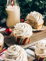 Spiked Eggnog Cupcakes are topped with Brown Butter