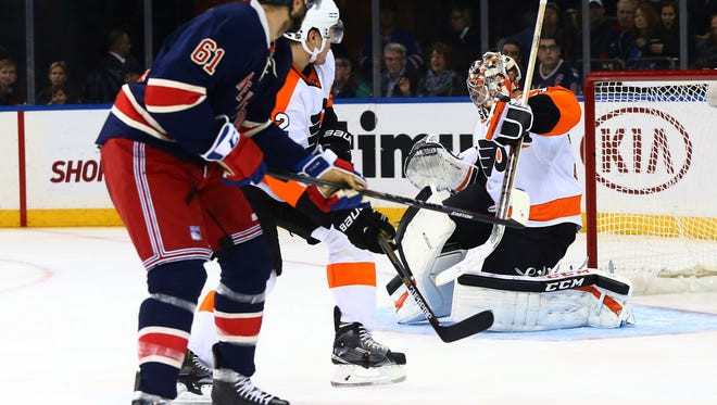 Goalie Steve Mason and the Flyers are looking to top the Rangers after getting beat by them 3-2 last weekend.