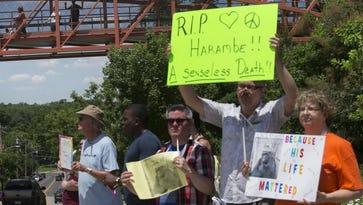 A demonstration outside the Cincinnati Zoo & Botanical Garden on May 30, 2016.