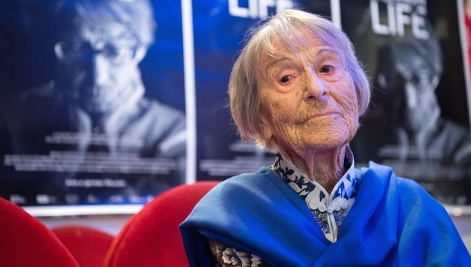 """Brunhilde Pomsel, former secretary of Nazi propaganda minister Joseph Goebbels, is shown posing for a picture after the premier of the film """"Ein deutsches Leben"""" (""""A German Life"""") in Munich, Germany, last June."""