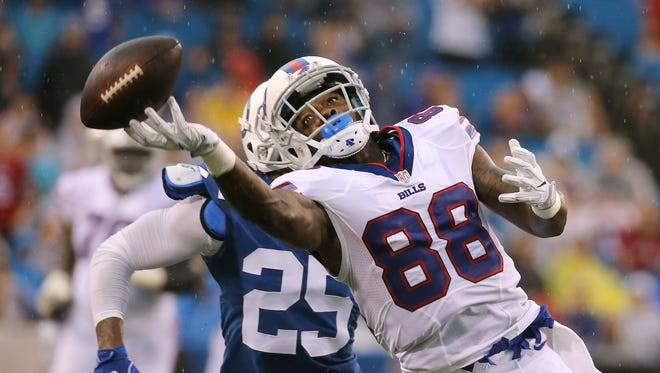 Bills receiver Marquise Goodwin has this deep pass go off his fingertips against the Colts.