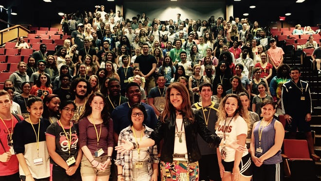Lu Hanessian with some audacious teens. Hanessian keynotes each year at The Rotary Youth Leadership Association's end of school year conference, run by South Jersey educator James Puderbach.