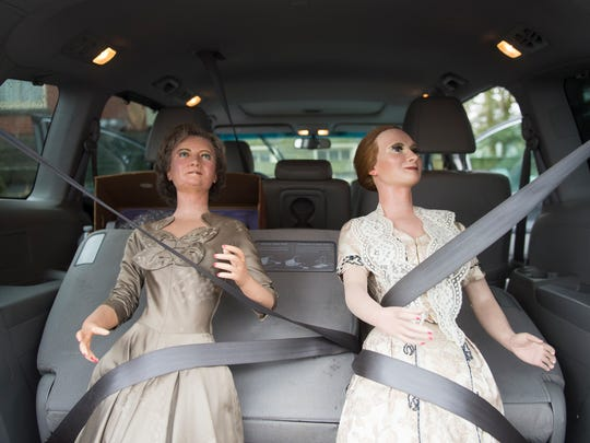 Wax figures of First Ladies Bess Wallace Truman, left,