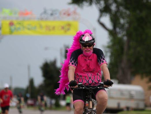 Mike Knapp of Waterloo dons pink flamingo suit as he