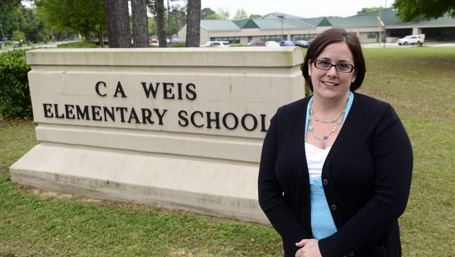 More funding is in place to help C.A. Weis Elementary become a community school. Principal Holly Magee is pictured on the campus in this April photo after the school received a $75,000 community school planning grant.