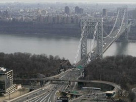 Aerial photo of the George Washington Bridge from above Fort Lee, Dec. 1, 2013. (AP photo)