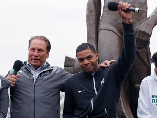 Michigan State's Miles Bridges, right, and coach Tom Izzo speak April 13, 2017 in East Lansing. Bridges, a 6-foot-7 forward from Flint, announced he is returning for his sophomore season.