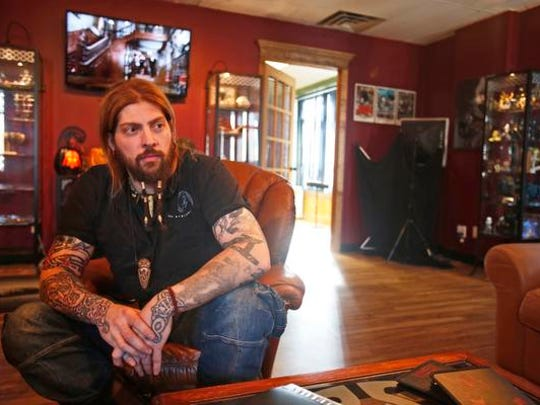 Tattoo artist Chuck Olaf Hšgnell, owner of The Mighty Horseman in Elmsford on Oct. 30, 2014.