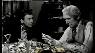 """James Stewart and Samuel S. Hinds in Frank Capra's """"It's a Wonderful LIfe."""""""