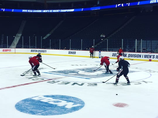 The St. Cloud State men's hockey team practices Friday at the Xcel Energy Center in St. Paul. The Huskies are the No. 1 seed in the regional and play Ferris State at 2 p.m. Saturday in the semifinals.