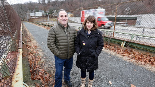 South Nyack residents Jeffrey Hirsch, left and Jessica Hans-Smolin photographed along the Raymond Esposito Memorial Trail in South Nyack on Wednesday, January 4, 2017.