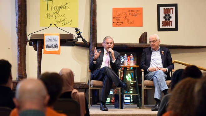 """Students Demand Action Bergen County helped organize a """"Town Hall for our Lives,"""" part of a national effort to engage elected legislatures on Sunday, April 7, 2018. U.S. Sen. Robert Menendez, D-N.J., and Rep. Bill Pascrell Jr., D-9th Dist., attended the town hall organized by the student group to discuss gun violence at the Unitarian Society of Ridgewood."""