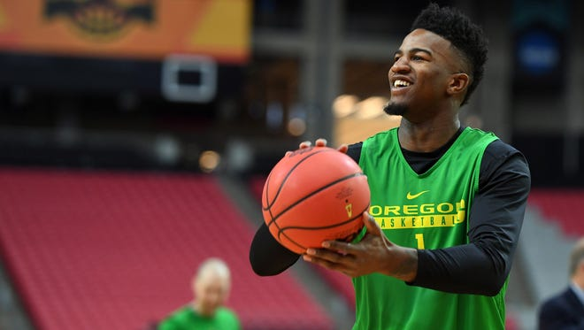 Mar 31, 2017; Phoenix, AZ, USA; Oregon Ducks forward Jordan Bell (1) shoots the ball during practice for the 2017 Final Four at University of Phoenix Stadium. Mandatory Credit: Bob Donnan-USA TODAY Sports