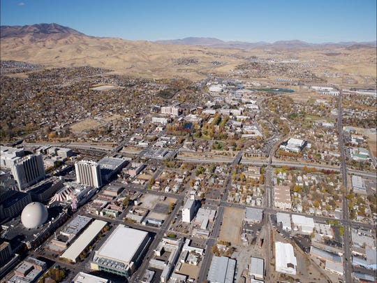 A aerial view of downtown Reno.