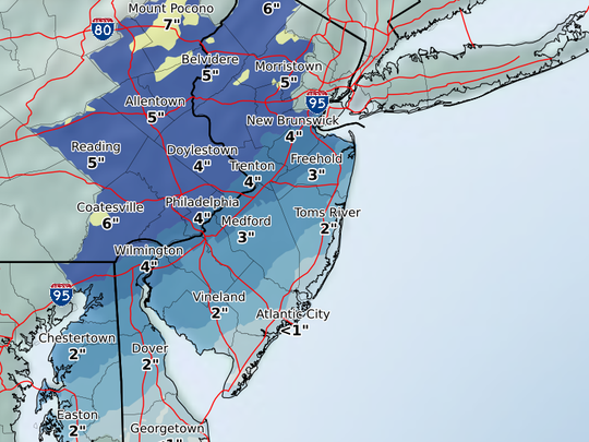 Most of the Shore will be looking at a maximum of 2