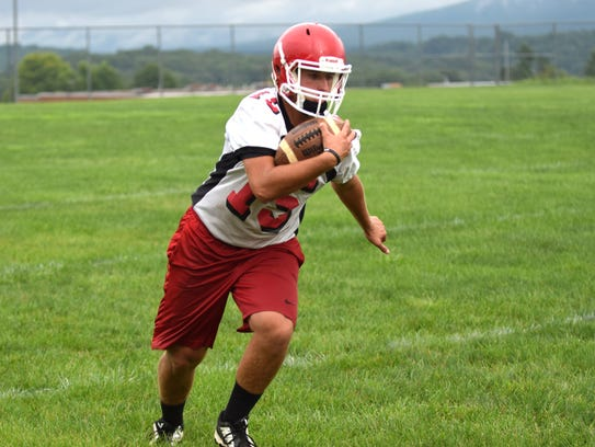 Riverheads' Casey Phillips participates in a pass-catching