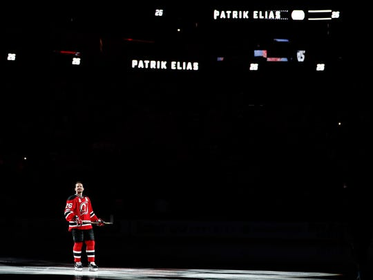 Devils' Patrik Elias is honored prior to a game against the Islanders, Saturday, April 8, 2017, in Newark. The Devils' all-time leading scorer is retiring after a career that spanned almost two decades and included two Stanley Cup titles. The Devils invited the 40-year-old native of the Czech Republic to skate one more lap pregame on Saturday, April 8, 2017.