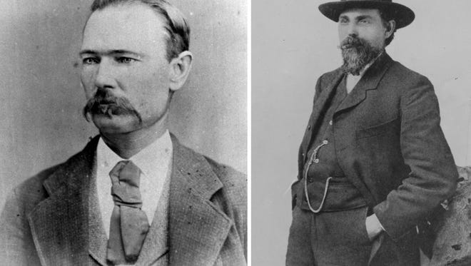 Sydney Borden (left) led a posse that lynched two men near the Borjas Ranch in Duval County. Martin Culver (right) stopped a lynch mob from hanging a wounded bandit from the steeple of St. Patrick's Church in Corpus Christi.