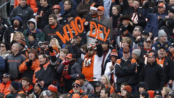 Cincinnati Bengals fans cheer their team on.