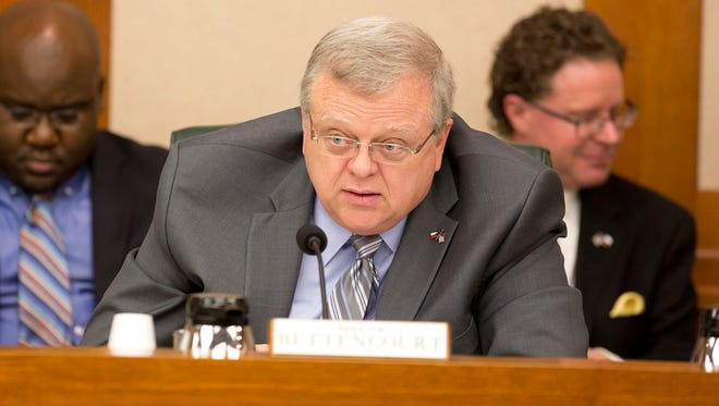 State Sen. Paul Bettencourt, R-Houston, listens to testimony on SB2 at a Senate Finance Committee hearing on Tuesday, March 14.