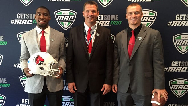 Head coach Mike Neu, receiver KeVonn Mabon and linebacker Sean Wiggins attended the MAC Media Day on Thursday