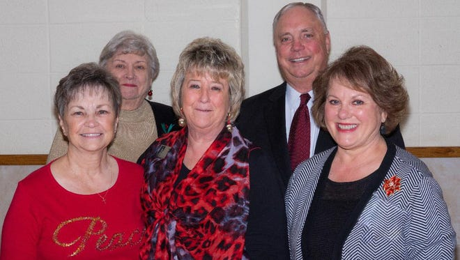 Front row: Sue Taylor; Treasurer, Nancy Byler; President of Texas Retired Teachers Association, Christy Vanoss; Second Vice President. Back row: Baynes Hobbs; President, Rep. Drew Darby; Texas House of Representatives