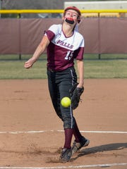 Menomonee Falls starter Cami Stigler pitches against Germantown in a Greater Metro Conference softball game Tuesday, April 24, 2018, at Menomonee Falls High School. Stigler pitched four scoreless innings in an 8-2 victory.