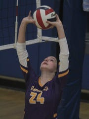 Campbell County senior Lauren Vineyard sets the ball