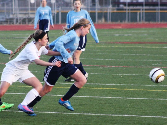 Stevenson's Kayla Gacioch (right) and Churchill's Hannah Damico pursue the ball during Monday's game.
