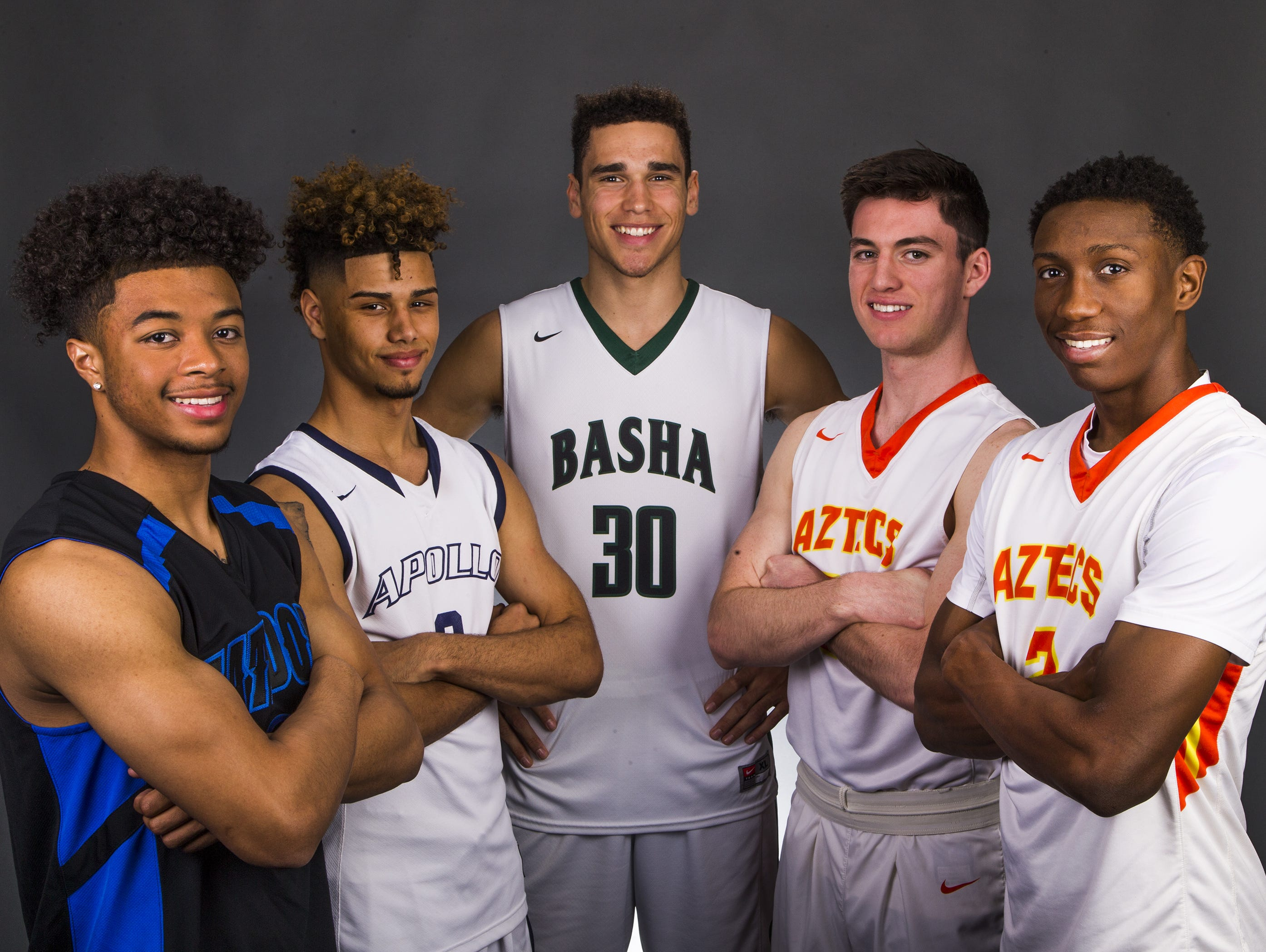 The All-Arizona Boys Basketball Team, from left to right; Marcus Shaver, Shadow Mountain, Holland Woods, Apollo, Gabe McGlothan, Basha, Alex Barcello, Corona del Sol and Saben Lee, Corona del Sol.
