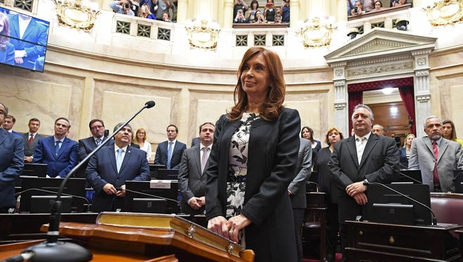 Argentine former president and Buenos Aires senator Cristina Fernandez de Kirchner photographed swearing-in for a new mandate as senator, at the Congress in Buenos Aires.