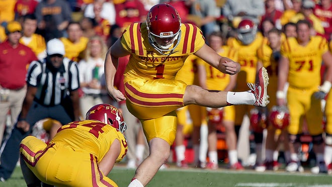 Iowa State's #34 Austin Fischer was the holder as #1 Cole Netten kicked his team's third field goal of the game near the end of the first halfToledo's during game at Jack Trice Stadium in Ames on Saturday  Oct. 11, 2014.