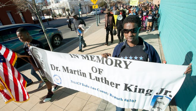 Many gathered downtown to honor Martin Luther King Jr. on Sunday January 14, 2018 for the annual MLK March sponsored by the Doña Ana County Branch of the NAACP.